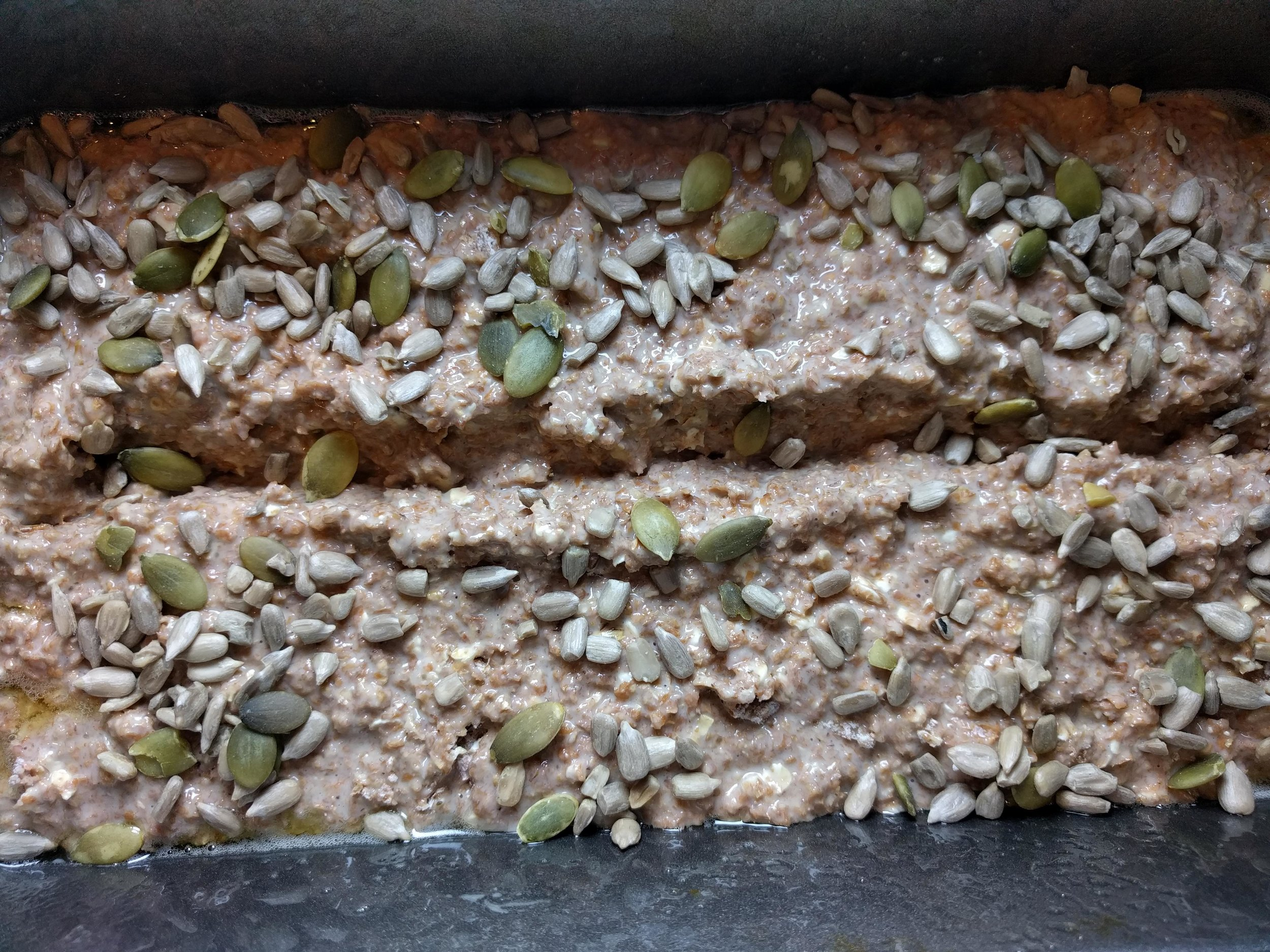 and the crunchy seed topping. Then your work is done. Put it in the oven.