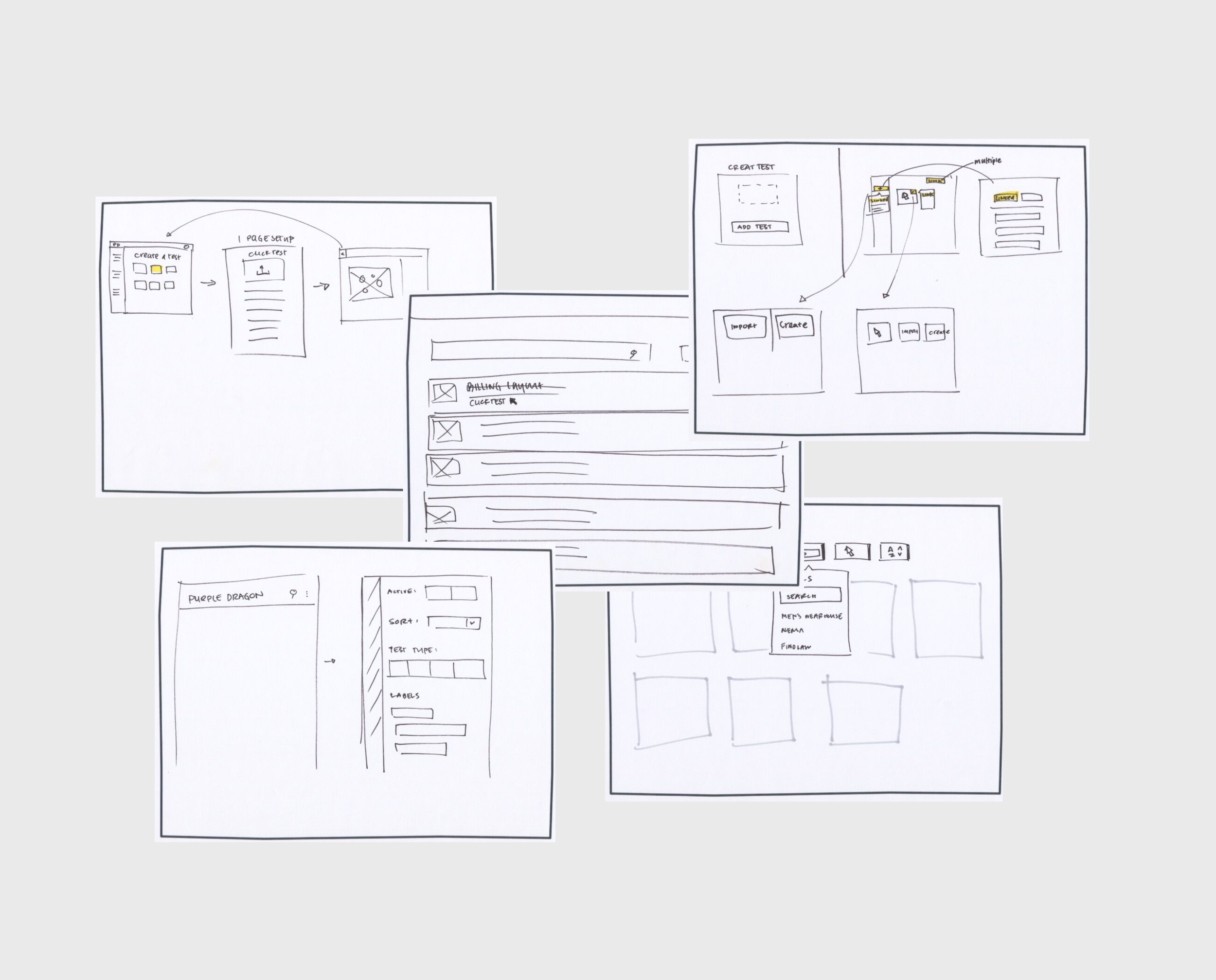 Sketches - We used pen and paper to get all of our ideas out before moving to higher fidelity wireframes. Being able to present ideas quickly, doodle on top of, or even toss out these sketches allowed us to iterate more efficiently and effectively.