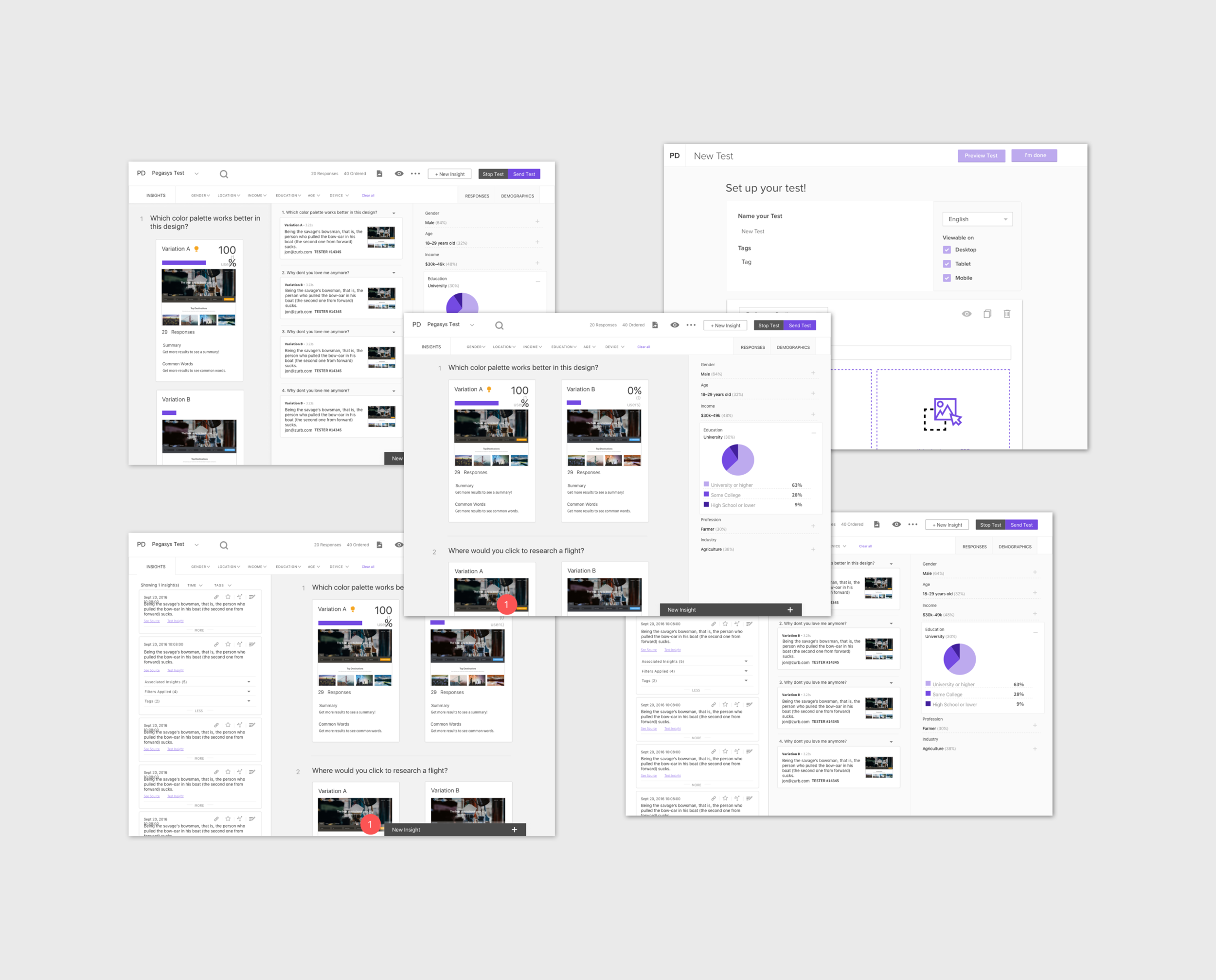 Wireframes - We moved our doodled ideas into a digital format once we had a general concept laid out in sketch form. The wireframes helped us see the flow of the application, notice minute details, and started testing with users to get their feedback.