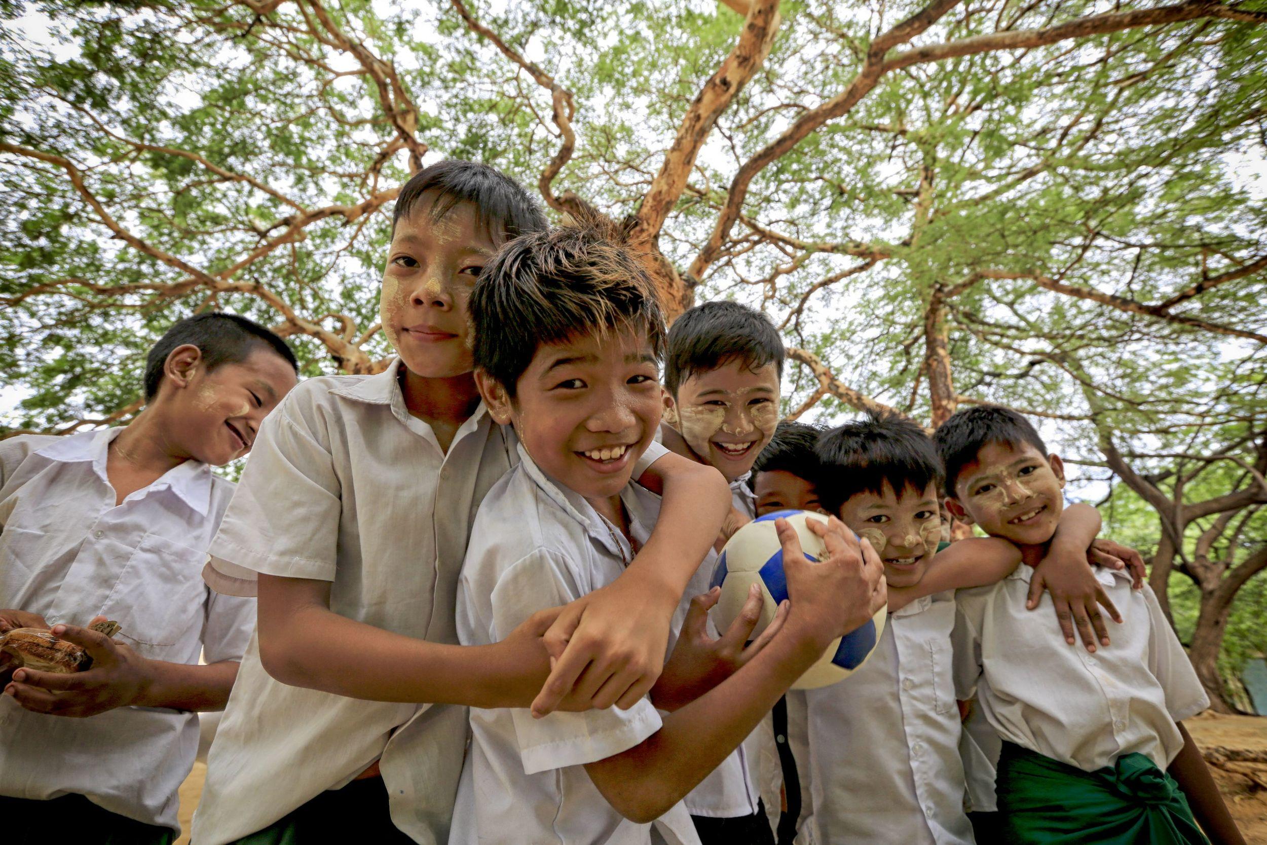 School Children Under Tree Canopy, Myanmar, 2016