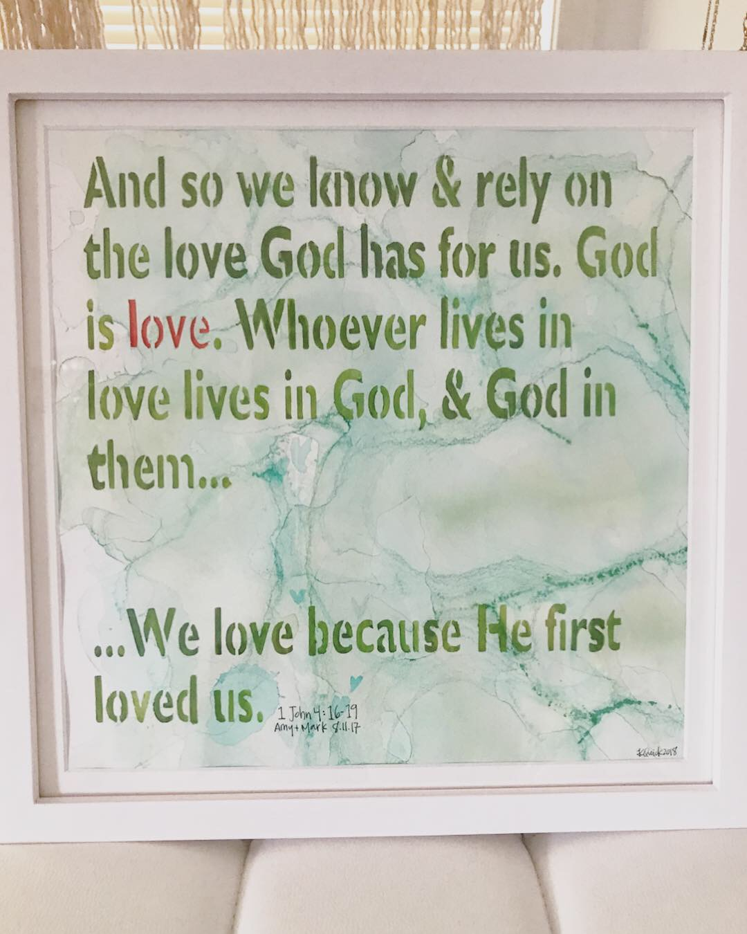 """Watercolor created for my friend, Amy at her husband's request for a """"paper"""" gift to celebrate their 1st year of marriage. This bible verse was read by Mark's nephew during his and Amy's wedding ceremony. What a special gift!"""