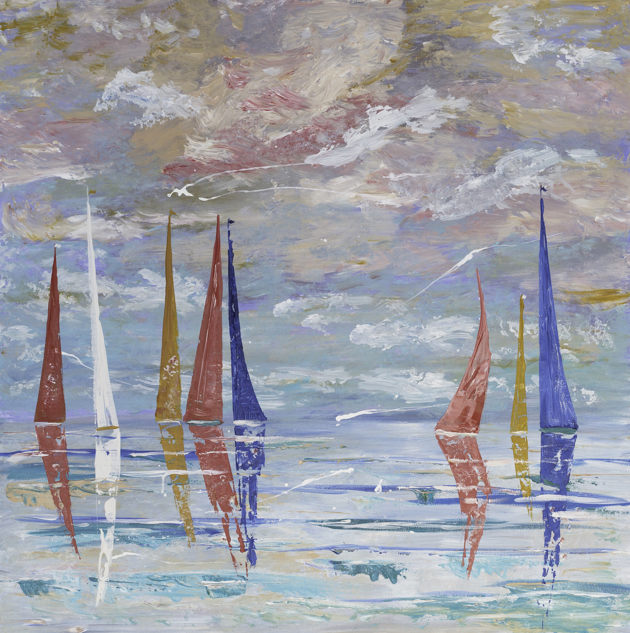 'Yachts' is painted onto a stretched canvas measuring 91cm square and 3.5cm deep using acrylic paints. The original and limited edition prints are available.