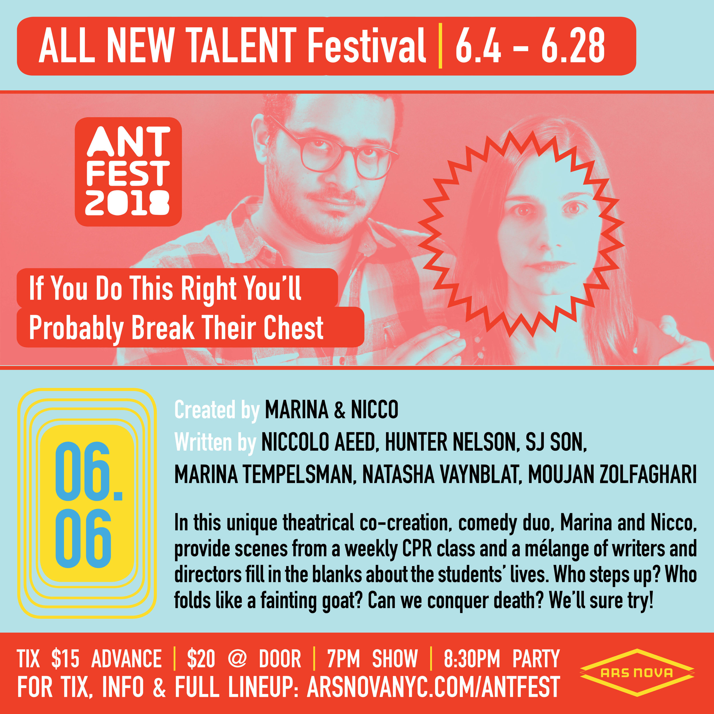 Marina & Nicco at Ars Nova ANT Fest! - You can catch our collaboratively created play If You Do This Right You'll Probably Break Their Chestat Ars Nova's ANT Fest on June 6th, 2018!Ars Nova does incredible, innovative work, and we're so proud to be included in ANT Fest (Ars Nova's Festival for All New Talent).Get your tickets here!
