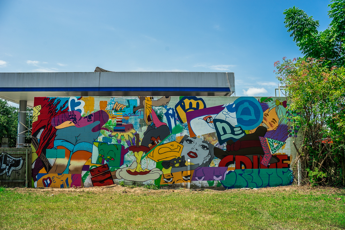 Mural at the Chevron on Carrolton Ave. and Willow St. Uptown.