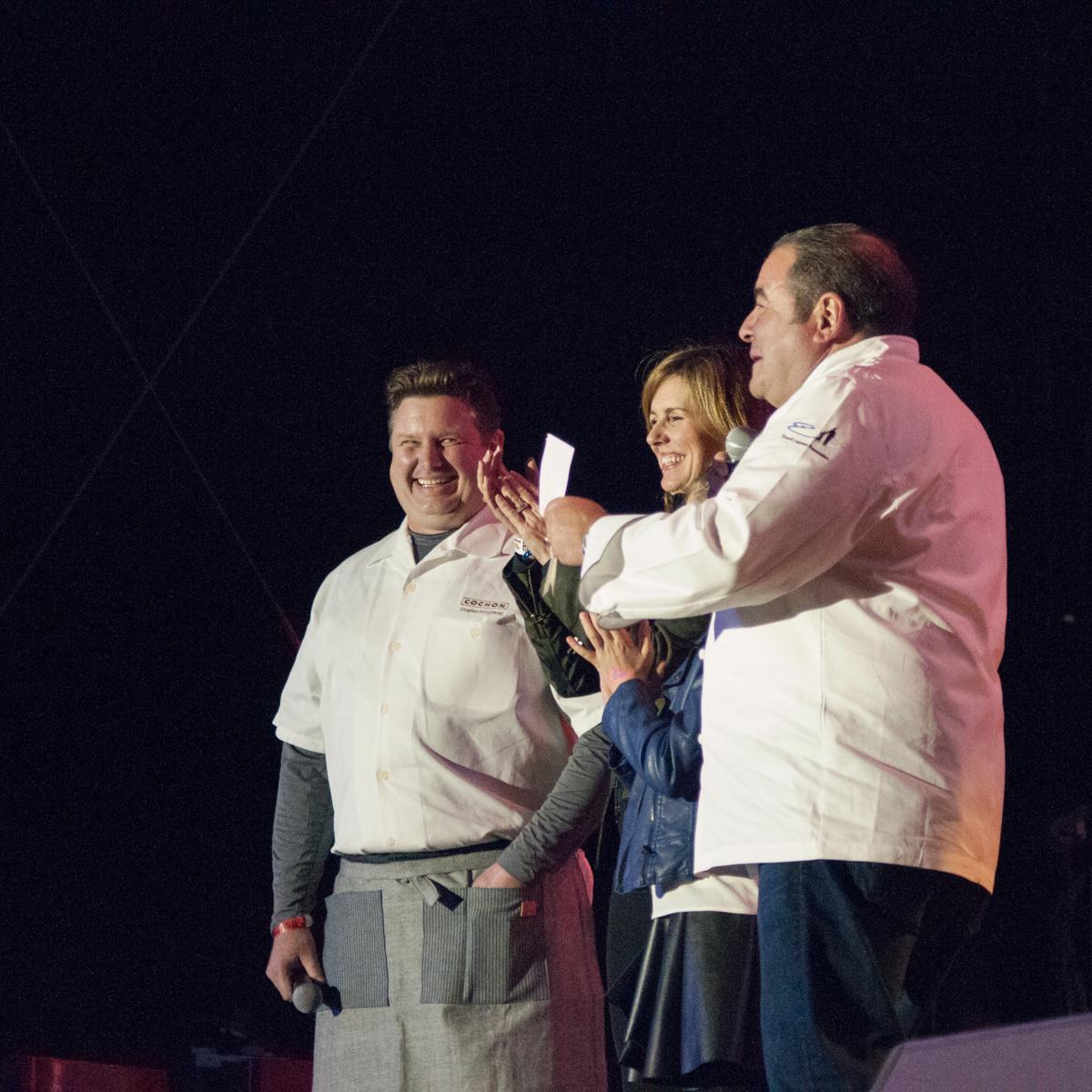 Stephen Stryjewski, Alden Lagasse, and Chef Emeril Lagasse.