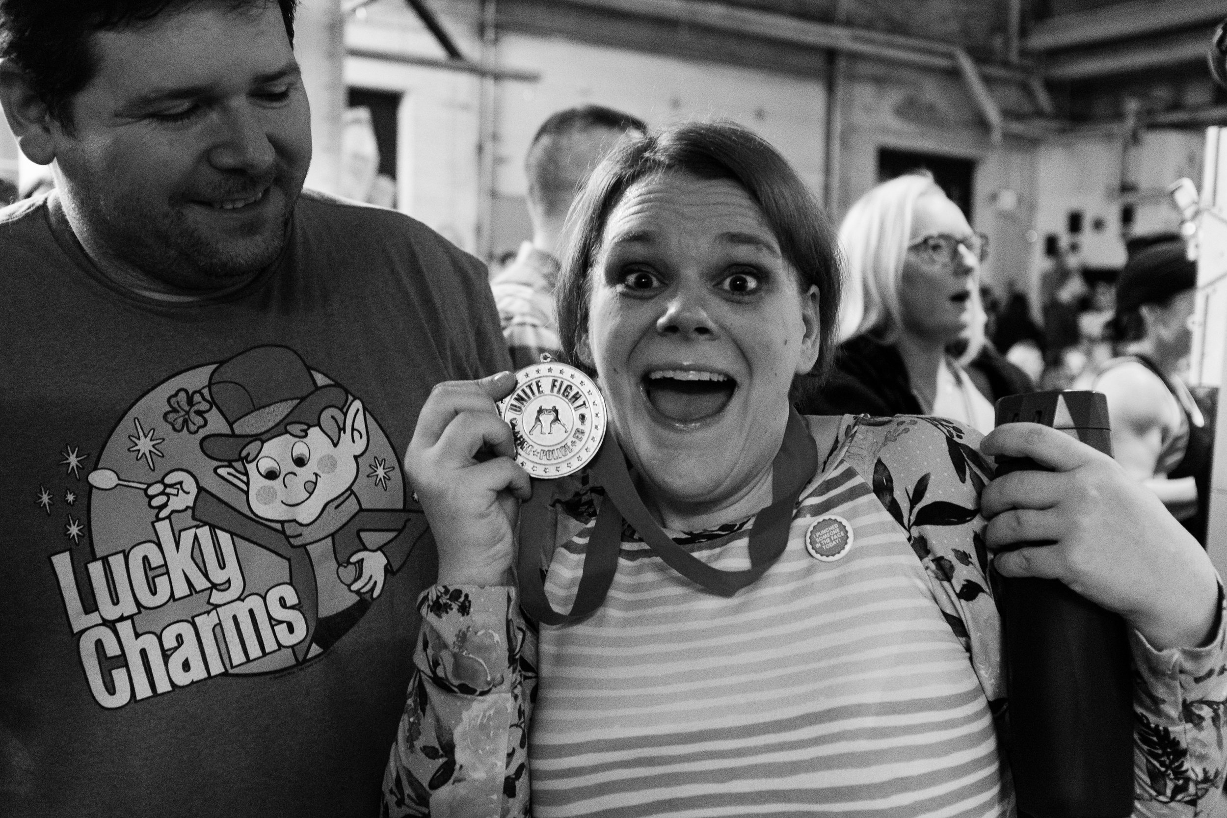 """Irish Frisky With her Unite and Fight Medal. Her Button reads-""""I punched someone in the face today!"""""""