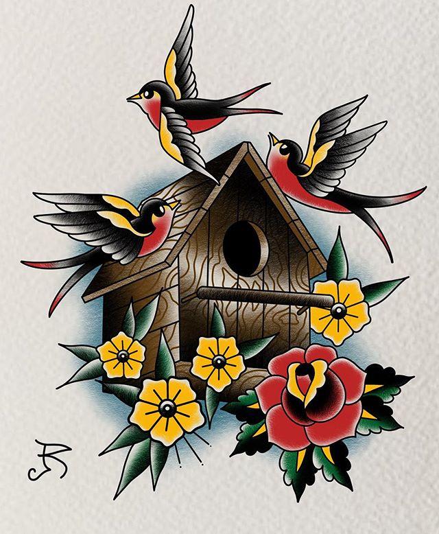 Little birdhouse during downtime. . . . #flash #tattoo #ipadpro #digitalpainting #procreate #birds #traditionaltattoos #birdhouse #rosetattoo #apple #missouri #stlouis #tattoo #birdbox #selfinflictedstudios #flashpainting #ipadproart #guyswithtattoos #bold