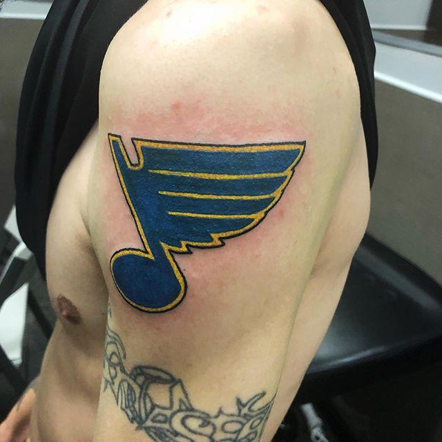 First one today! . . . #tattoo #blues #stanleycup #champion #stl #bluestattoo #mo #missouri #love #like #tattoos #fun #gloria #2019 #hockey #hockeytattoo #bleedblue💙