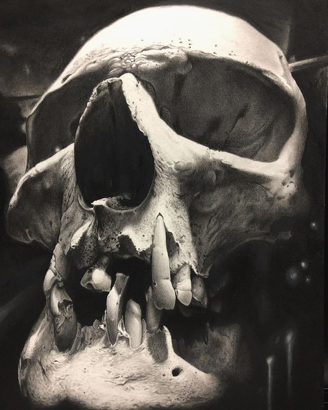 Almost done. Graphite marker charcole and pastel on arches hot press. A few more hours and sealant and she will be done. Might make prints. What do you guys think?  #realismmasters #realism #hyperrealism #blackandwhite #drawing #skulldrawing #graphite #wip #deadart #dead #skull #humanskull  can't sleep anymore so I just work till I'm dead tired.