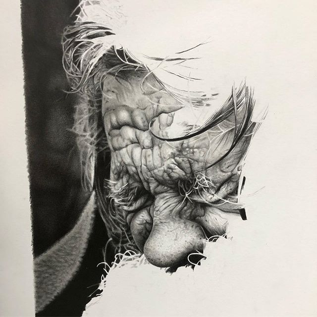 Progress on this graphite piece. Around 20 plus hours in so far. #wip #time #patience #hyperrealism #textures