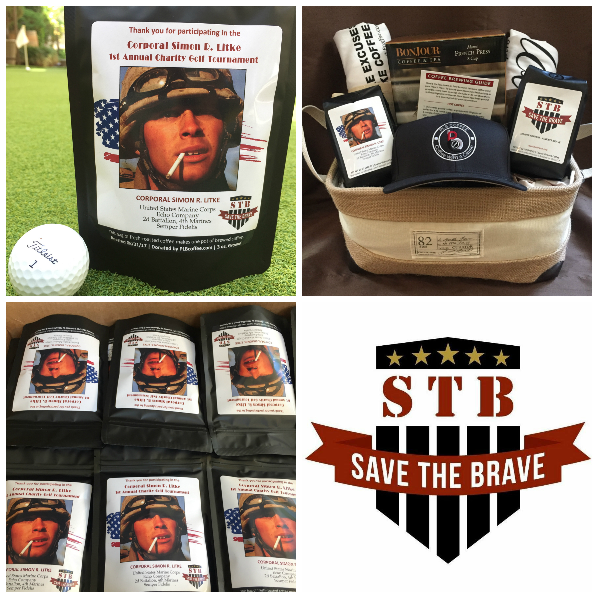 - Save The Brave 1st Annual Simon R Litke Charity Golf TournamentWhen we were asked by Save The Brave's Executive Director Scott Huesing to be a part of the 1st Annual Simon R Litke Charity Golf Tournament we couldn't refuse. Scott's passion for our military vets is contagious and we were happy to donate coffee to all the participants as well as a coffee basket for their auction to raise funds for their organization.