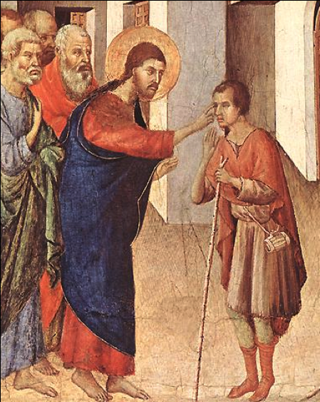 Healing the Blind - (Duccio, 13th century)