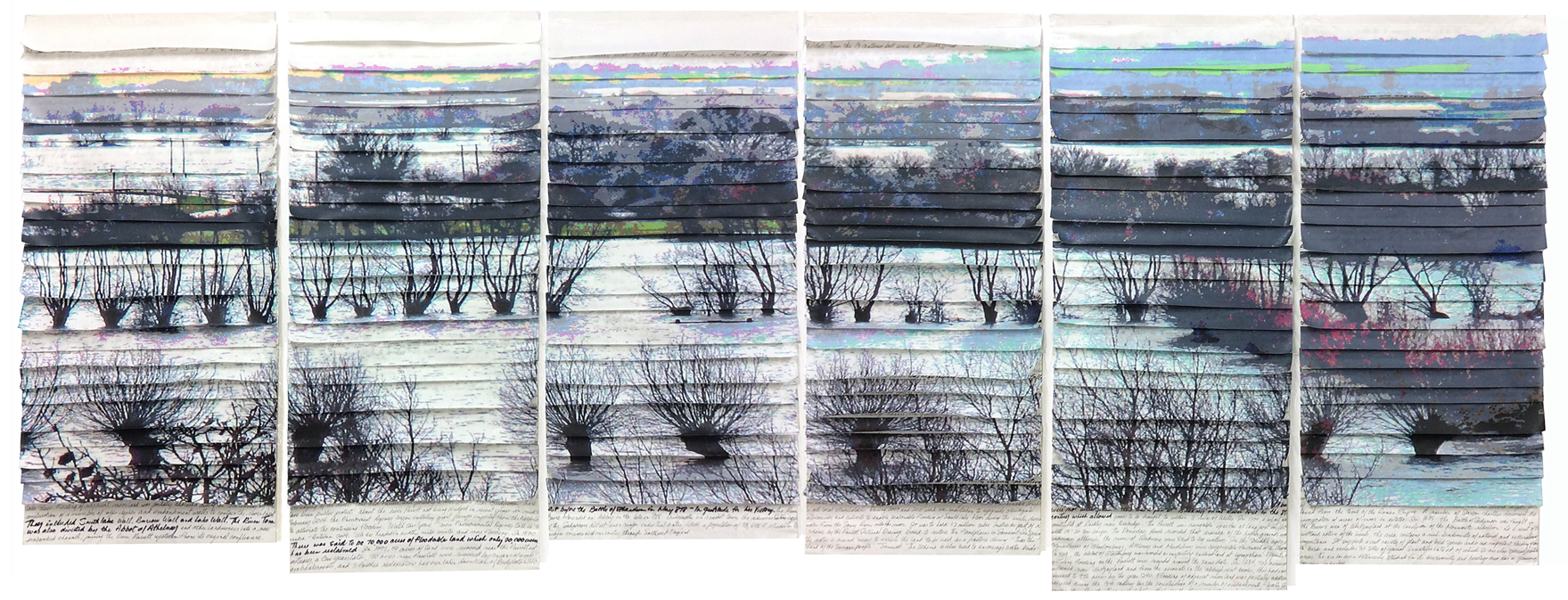 This is called Reality and Rhetoric and is 2.6m wide and relates to the flooding on the Somerset Levels last year.