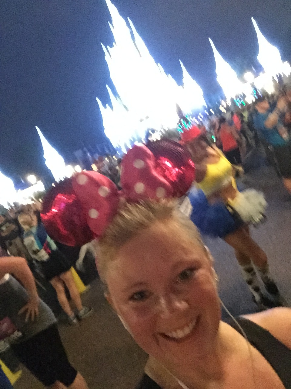This was my quick attempt to take a good photo of myself in Magic Kingdom, but clearly my mid- stride selfie skills are not really skills. Keep in mind this is only 6:15am and I was DYING of heat and humidity already!