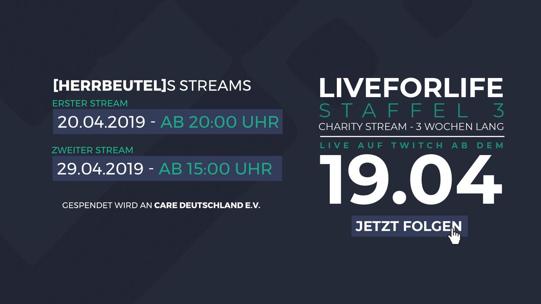 Die 3. Staffel von LiveForLife startet am 19.04.2019 - und ich werde ein Teil davon sein!