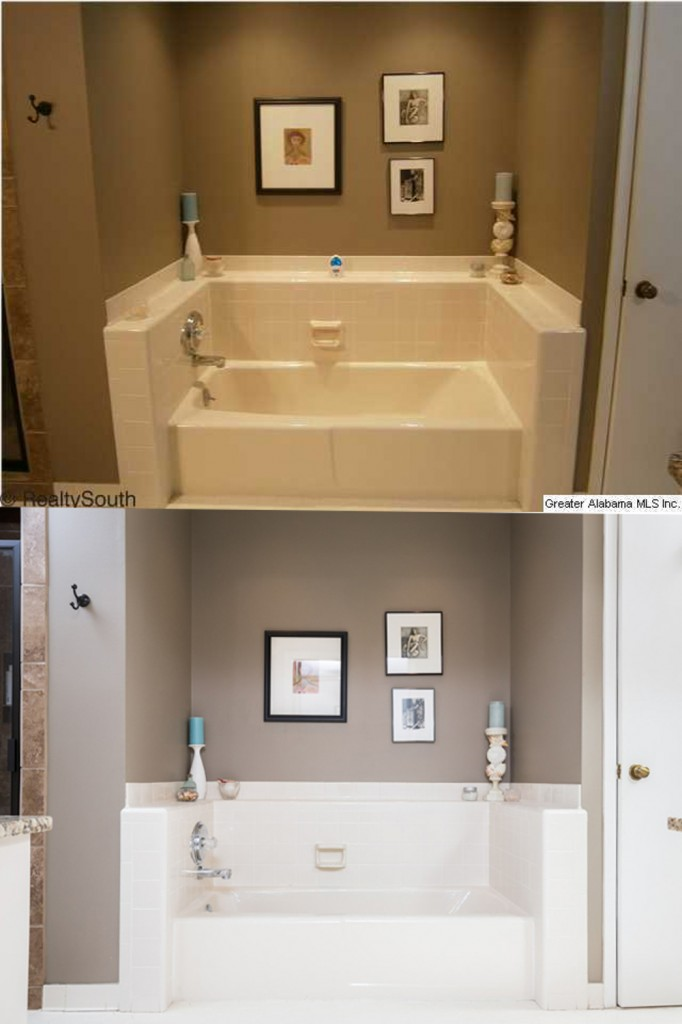 Agent photo top, my photo bottom - Another master bath. Choosing a good angle helps straighten the lines in the scene. Color control and calibration shows off how the room actually looks instead of having an odd color cast.