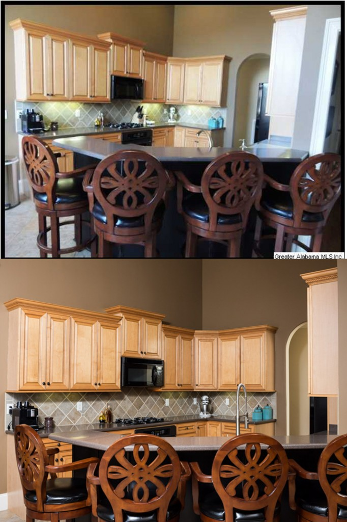 Agent photo top, my photo bottom - The kitchen is also critical to show off in the best possible light!