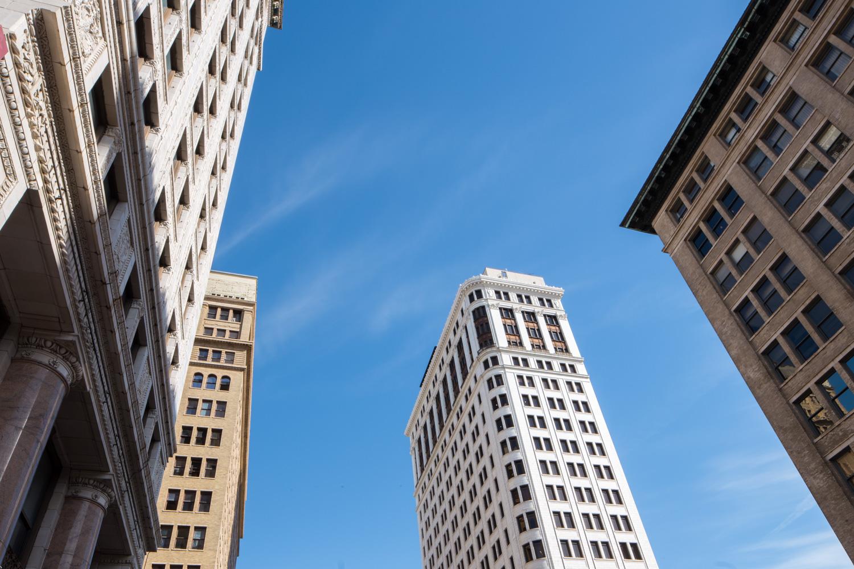 Looking up at Downtown Birmingham, Alabama. John A Hand Building center.