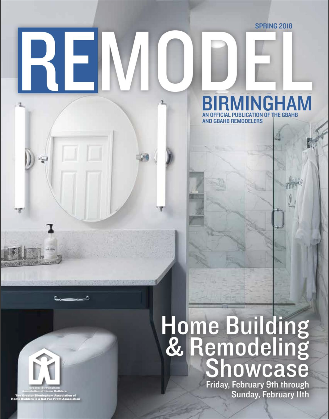 Cover of Remodel Magazine Spring 2018. Photographed for Precision Homecrafters in Birmingham Alabama