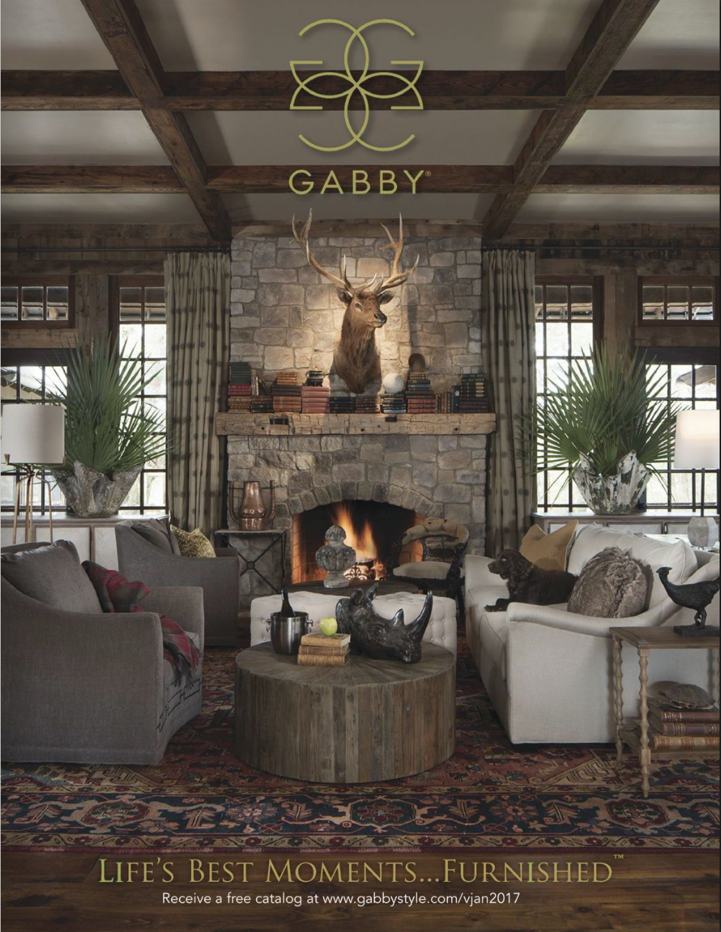 Full page ad in February 2017 issue of Veranda Magazine for Gabby Home.