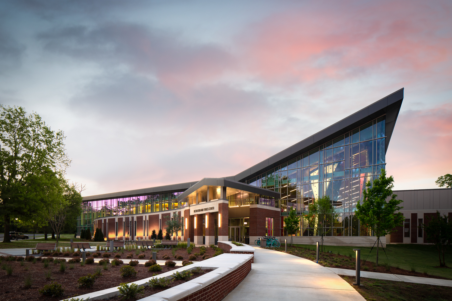 Jacksonville State Fitness Center - New commercial construction photographed for Turner Construction and Moody Nolan Architects in Jacksonville Alabama