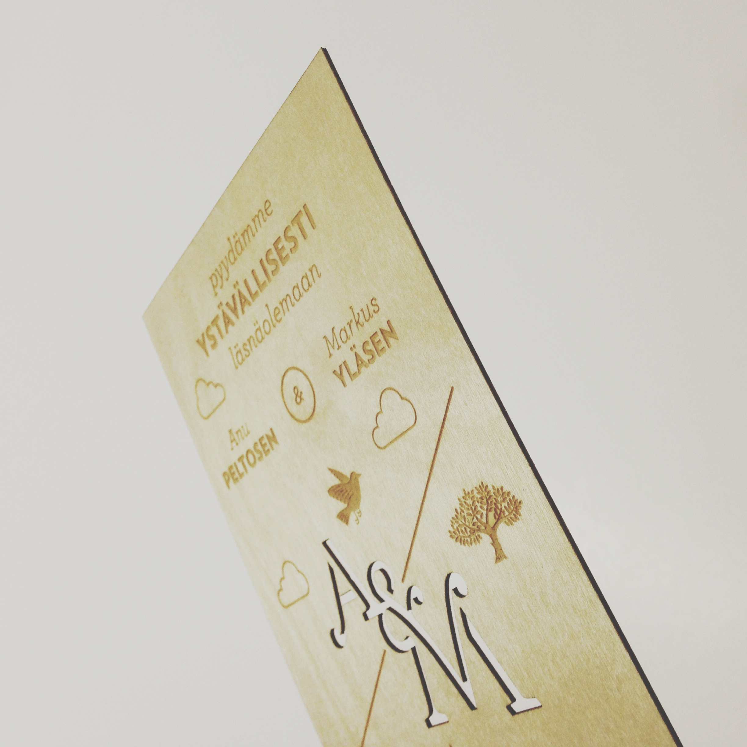 Laser cut engraved wedding invitation thin plywood