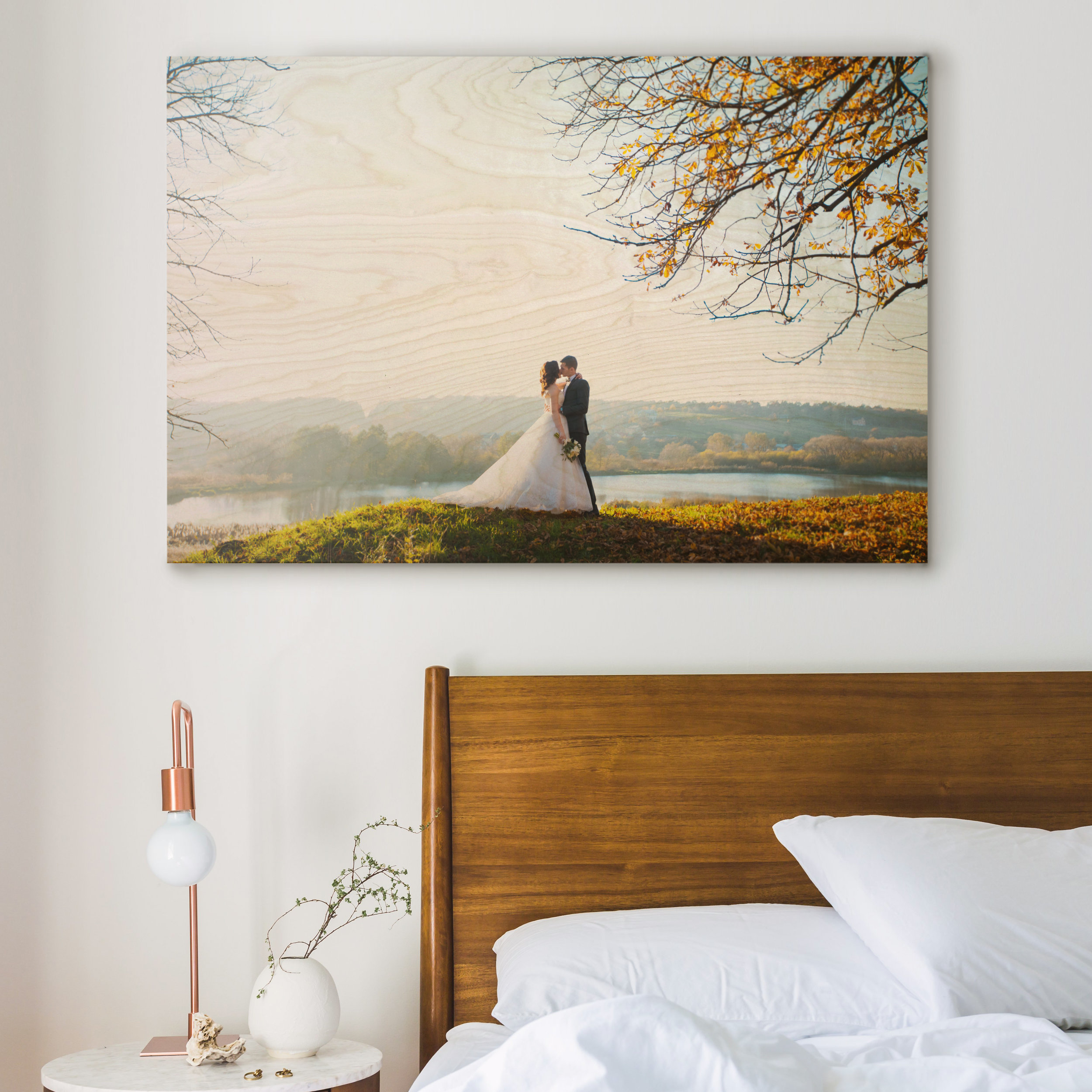 autumn wedding plywood print photo in bedroom interior