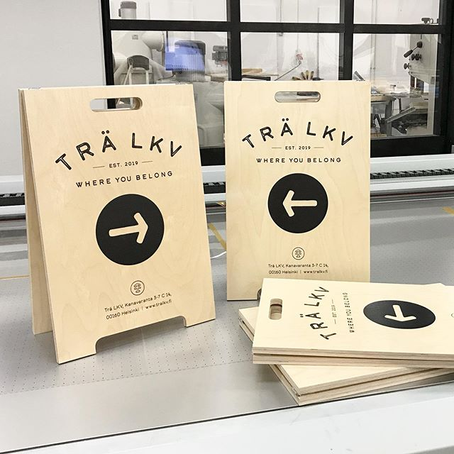 A set of our 50x75cm birch plywood A-stands we sent out a while ago for @tralkv  #lasercutstudio #madeinhelsinki #cncdesign #birchplywood #shopdesign #branding #madeinfinland #finnishdesign #printonwood #uvprinting #cnc #cnccutting #plywood #digitalmanufacturing #sustainabledesign
