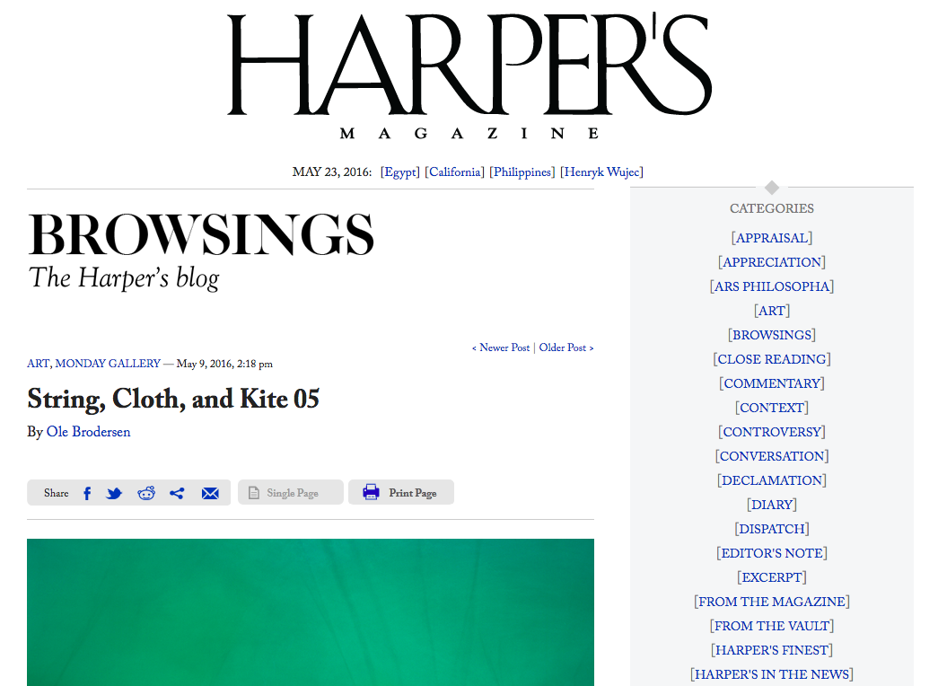 Harper's Magazine's Browsings is blogging my work.