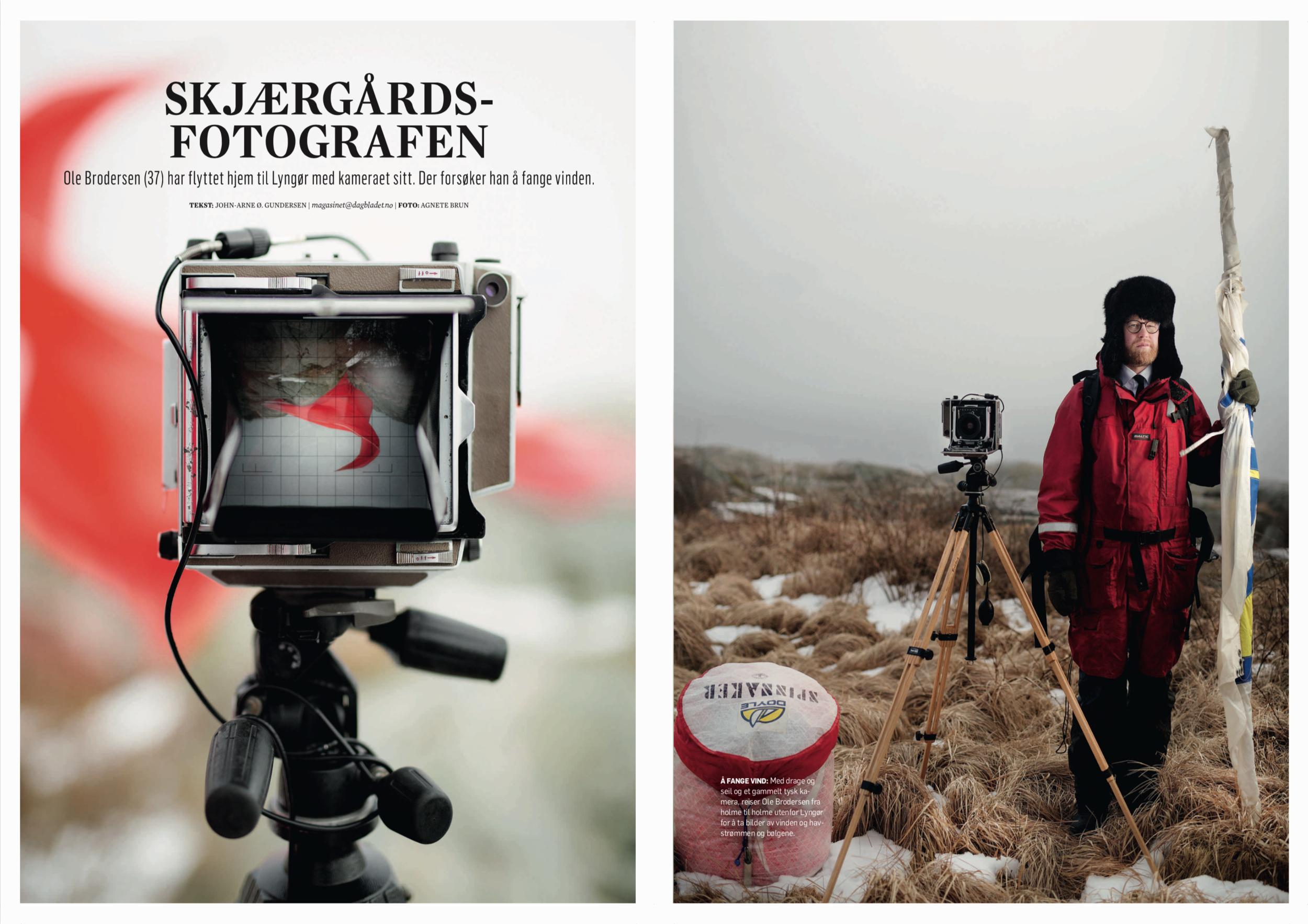 «Det er en klype-seg-i-armen-stemning å kunne jobbe her»   Ole Brodersen (37) har flyttet hjem til Lyngør med kameraet sitt. Der forsøker han å fange vinden.  Fra Dagbladet Magasinet.