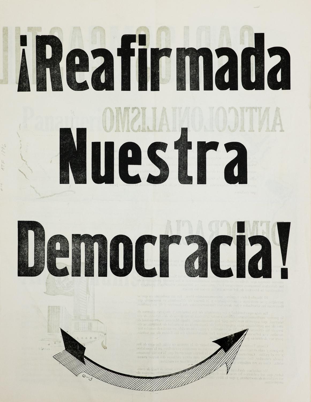 ¡Reafimada nuestra democracia! , Newsprint Broadside, 1 954