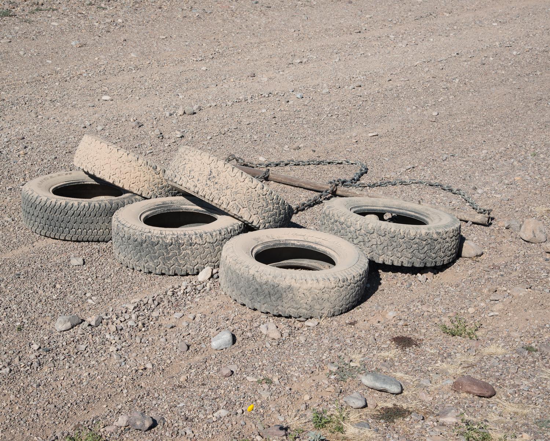 Drag Tires (for Cutting Sign) , Presidio, Texas, Jason Reed, 2013