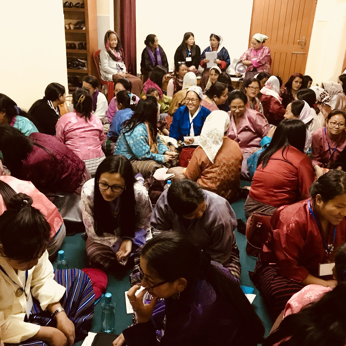 Women leaders sit shoulder to shoulder to receive vital training at our Esther Initiative Conference in Thimphu, Bhutan