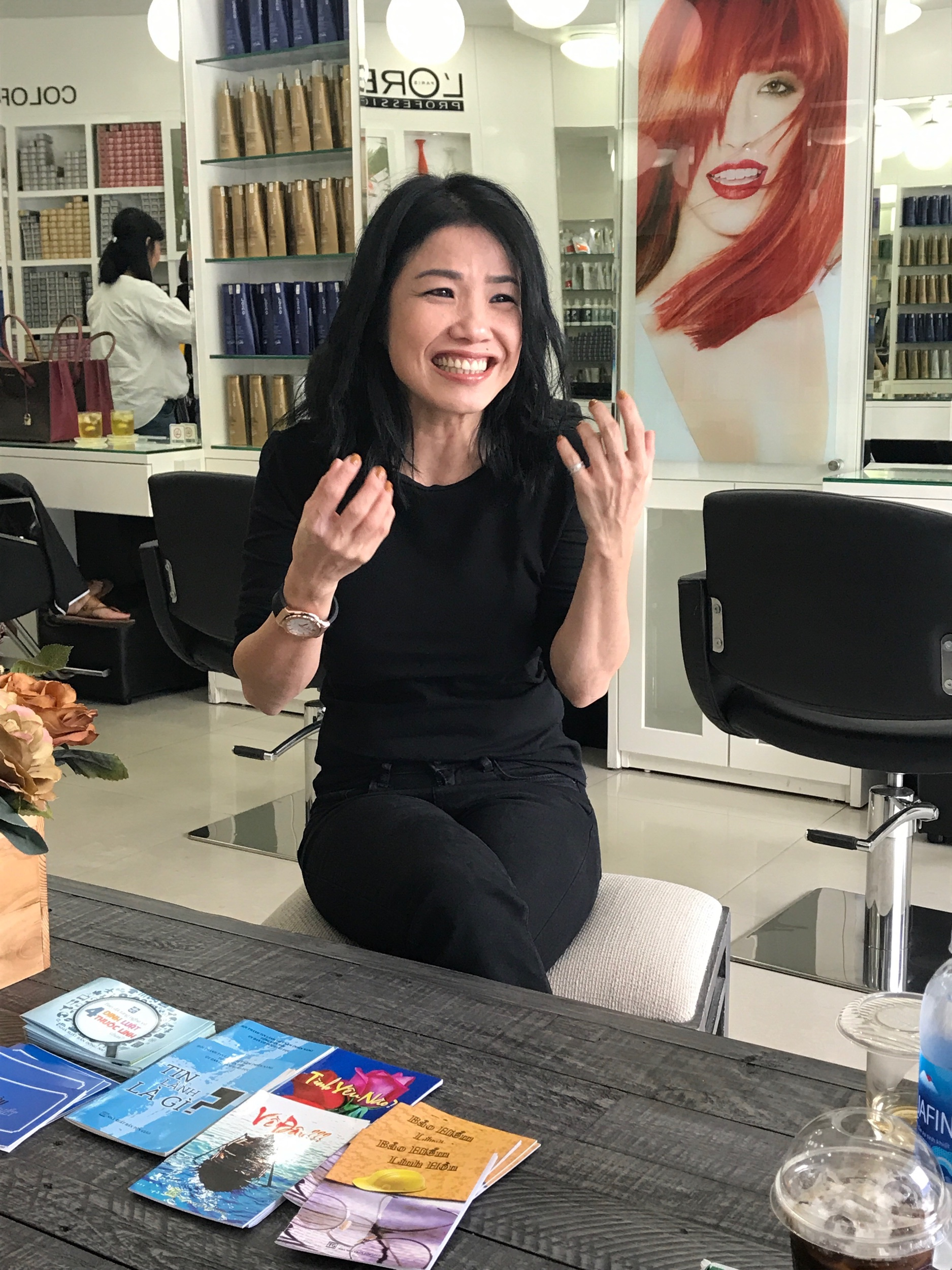 This hairstylist in Saigon has evangelism tracks in her studio and is passionate about sharing God's love with her clients.