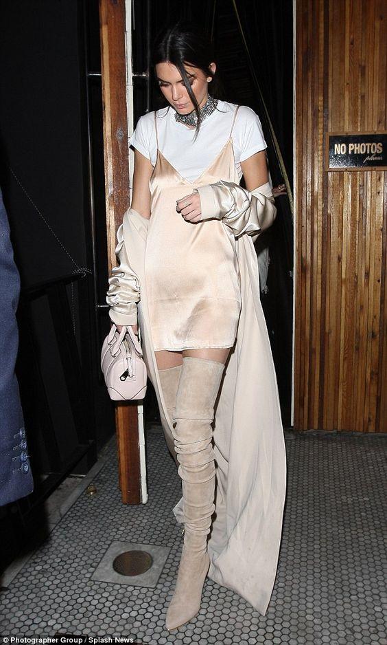 Kendall Jenner in a slip dress over a tee shirt