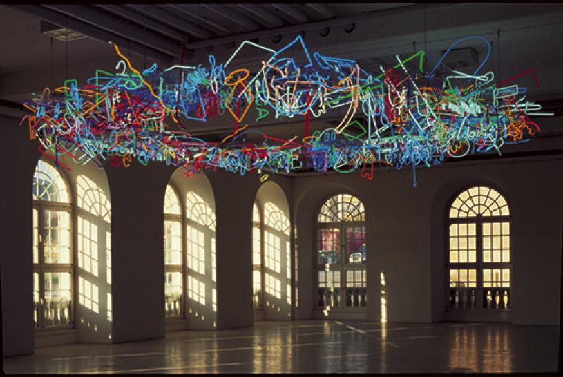 Neon installations by Maurzio Nannucci.