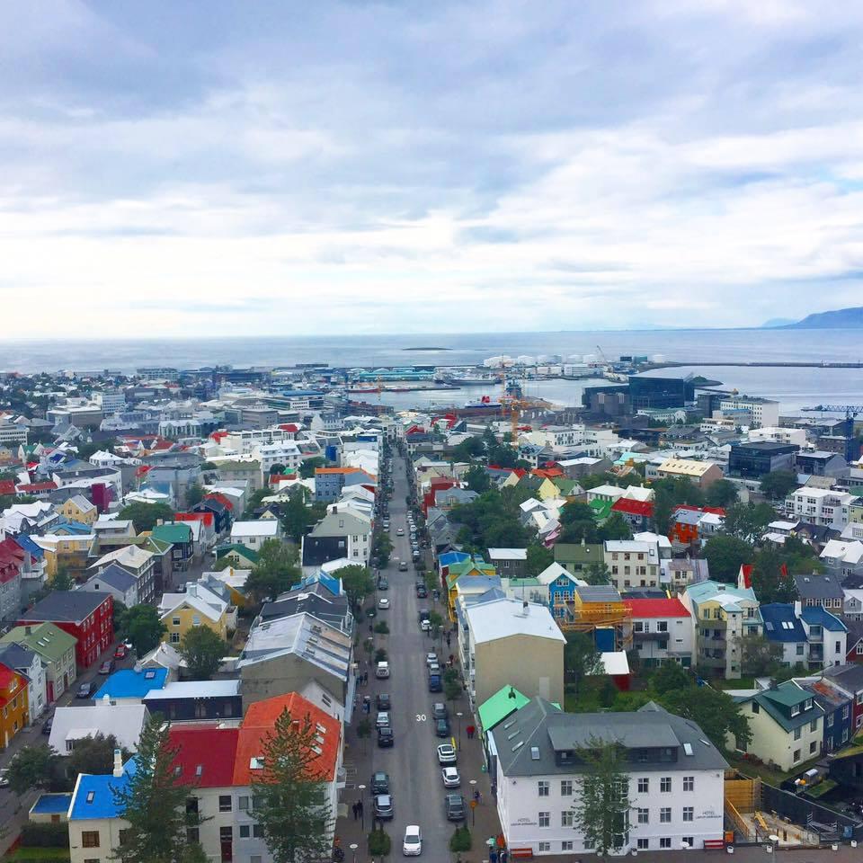 View from the highest view point in Reykjavik:Hallgrímskirkja church