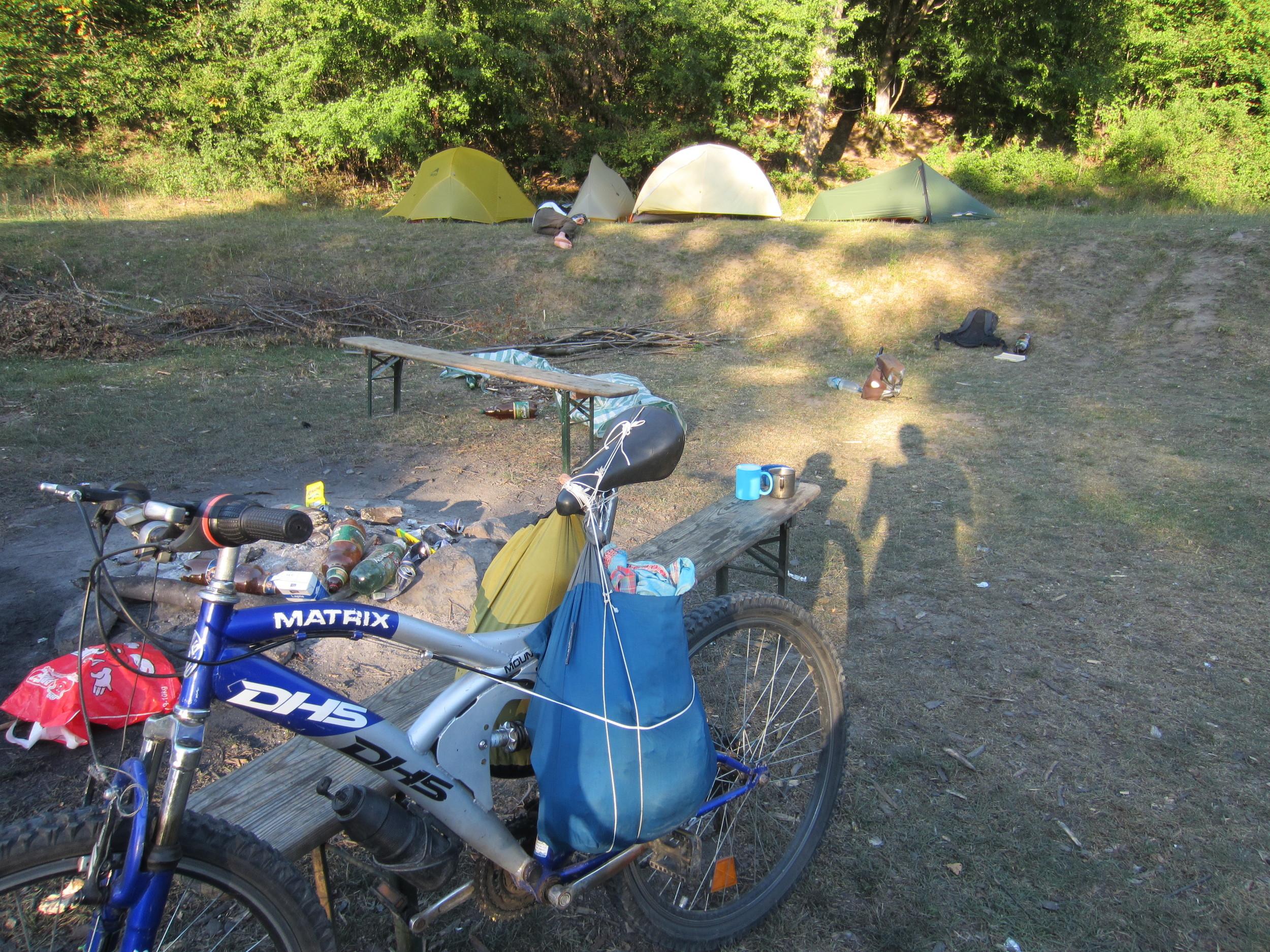 BabyBluewith mymake-shift saddle bags