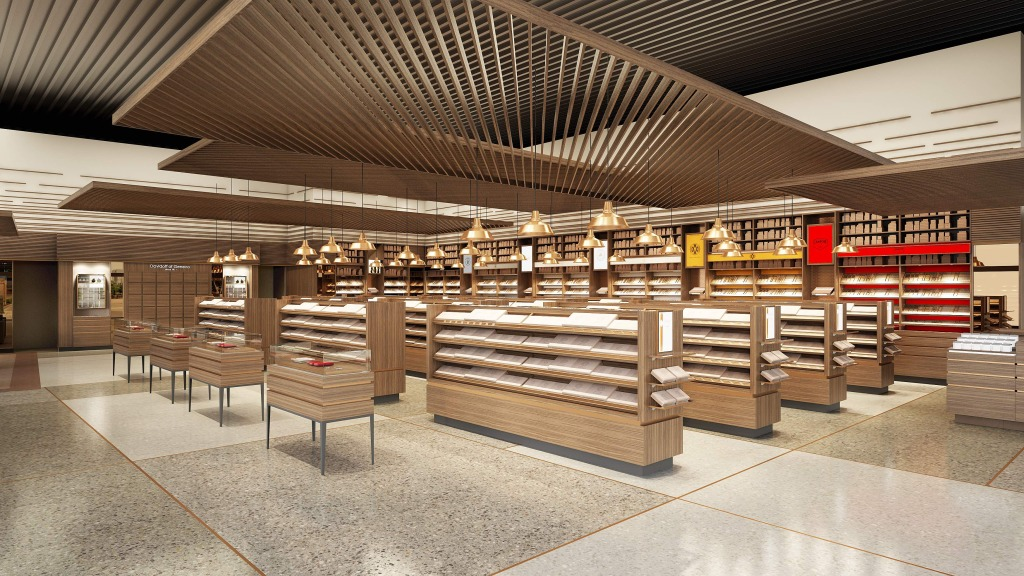 This rendering shows one view of the retail area of Davidoff's future Tampa store.