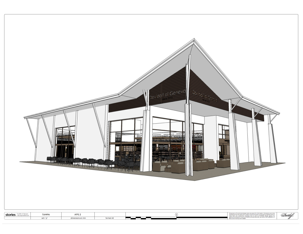 This rendering shows an exterior view of the Tampa store that will serve as Davidoff's largest when it opens later this year.