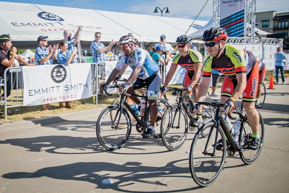 Emmitt Smith has found cycling to be an ideal way to keep in shape in retirement, and even created the Emmitt Smith Gran Fondo to raise money for his foundation's youth mentorship and back-to-school programs.
