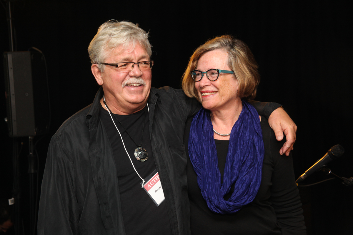 "Carol with Stephen Reid, author of "" A Crowbar in the Buddhist Garden "", at the Kingston WritersFest"