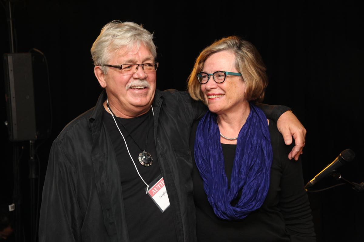 Author Stephen Reid and BCFI founder Carol Finlay at Kingston WritersFest, 2014.