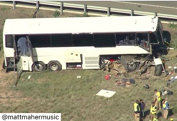 This bus was with a group from UNM Aquinas Newman Center...headed home to New Mexico from a youth conference.in Denver. 2 people have passed away from the crash. Please join me in praying for those involved