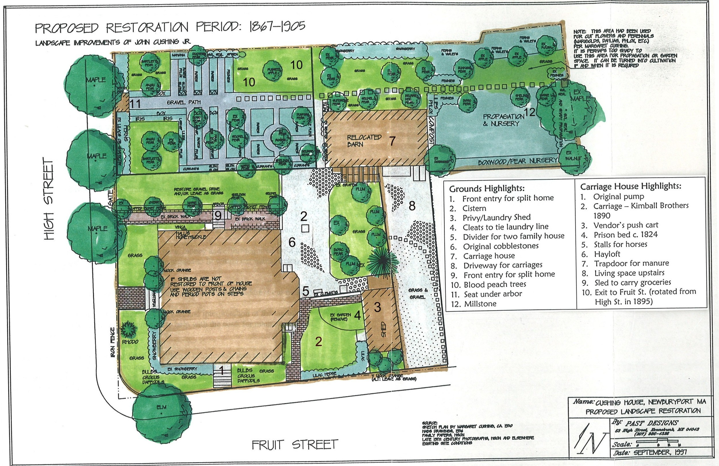 Plans for the 1998 restoration of the Cushing Garden