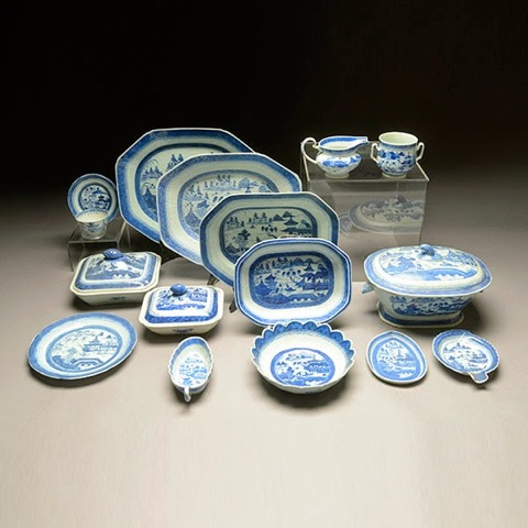Part of Newburyport Captain Jacob Stone's 54-piece collection of Canton china