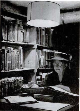 Rolfe at work in the Newburyport Public Library, 1943.