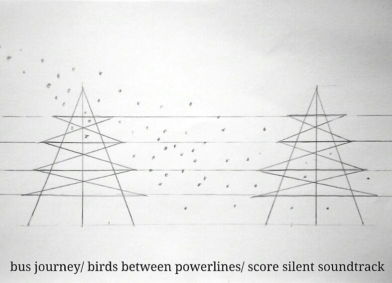bus journey— a flock of birds over power lines score a silent soundtrack  - drawn at 37,000 feet