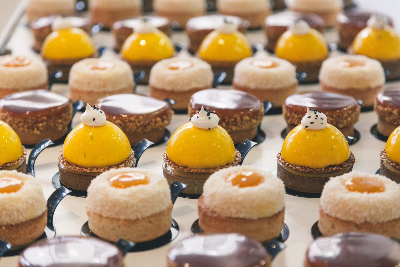 Mango coulis, citron crème pat, ganache, choux, a galette base: patisserie for the launch of the French edition of  The Art of Baking Blind ,  La Meillure d'Entre Nous .