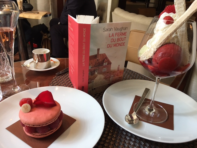 Celebratory Pierre Hermé macarons, forest fruits and basil ice-cream, and rosé champagne, consumed because they correspond with this edition's raspberry pink spine.